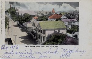 postcard showing eaton street in key west, florida