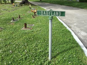 a small green sign reads 'babyland'