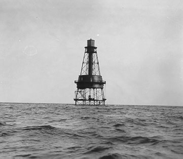 Black and white photo of Carysfort Reef Lighthouse
