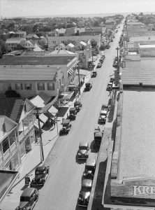 Black and white aerial photo of Duval Street in Key West from the roof of La Concha